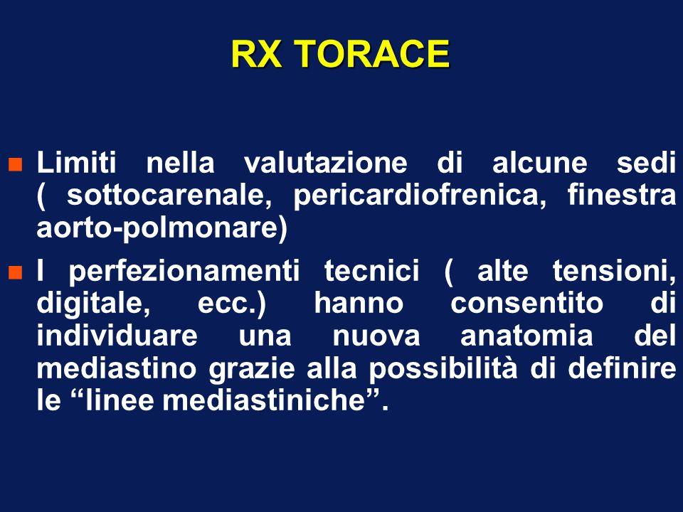 RX TORACELimiti nella valutazione di alcune sedi ( sottocarenale, pericardiofrenica, finestra aorto-polmonare)