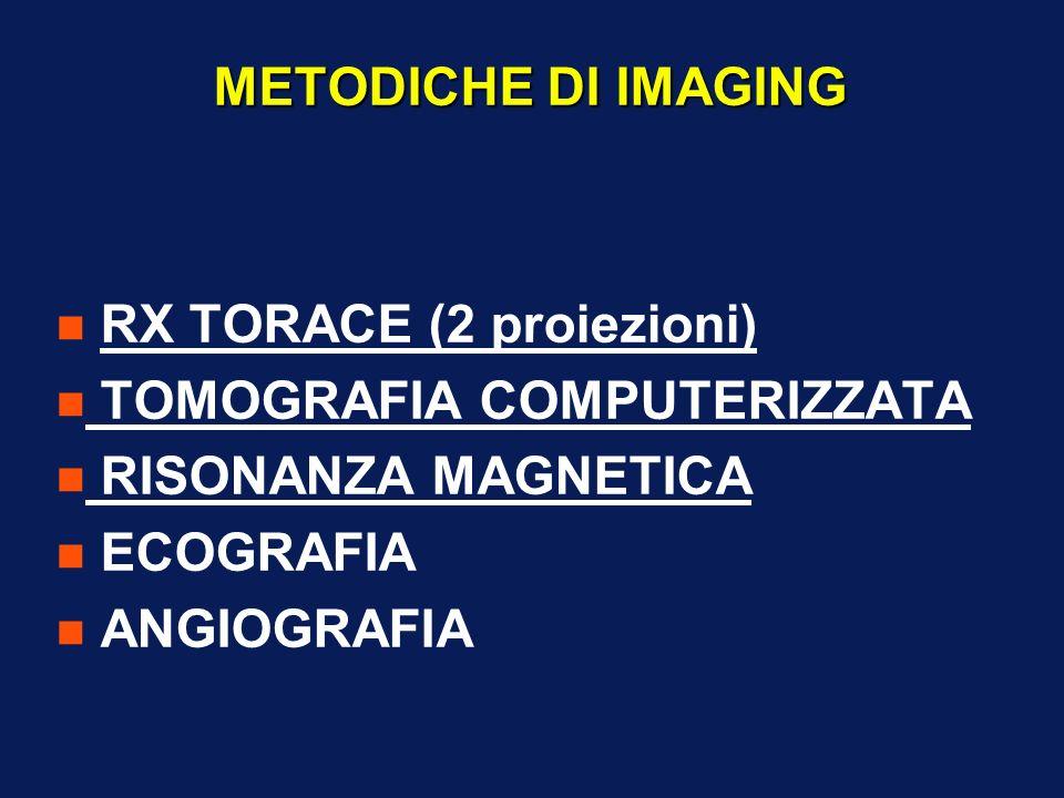 METODICHE DI IMAGING RX TORACE (2 proiezioni) TOMOGRAFIA COMPUTERIZZATA. RISONANZA MAGNETICA. ECOGRAFIA.