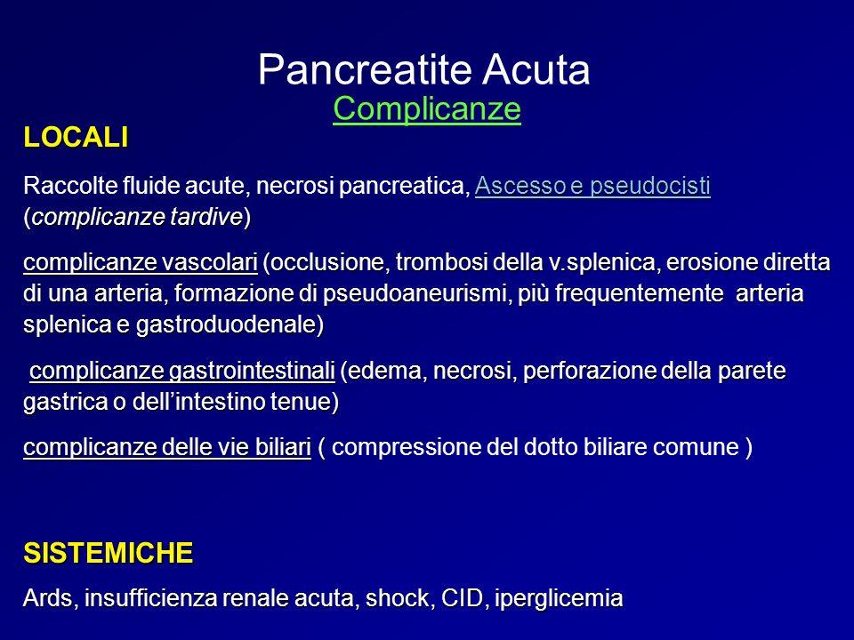 Pancreatite Acuta Complicanze LOCALI SISTEMICHE