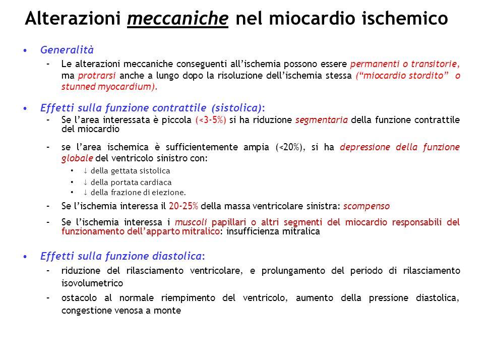 Alterazioni meccaniche nel miocardio ischemico