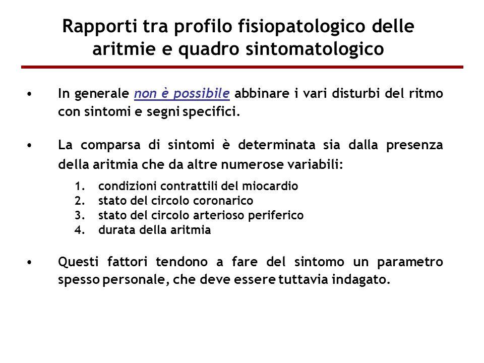 Rapporti tra profilo fisiopatologico delle aritmie e quadro sintomatologico