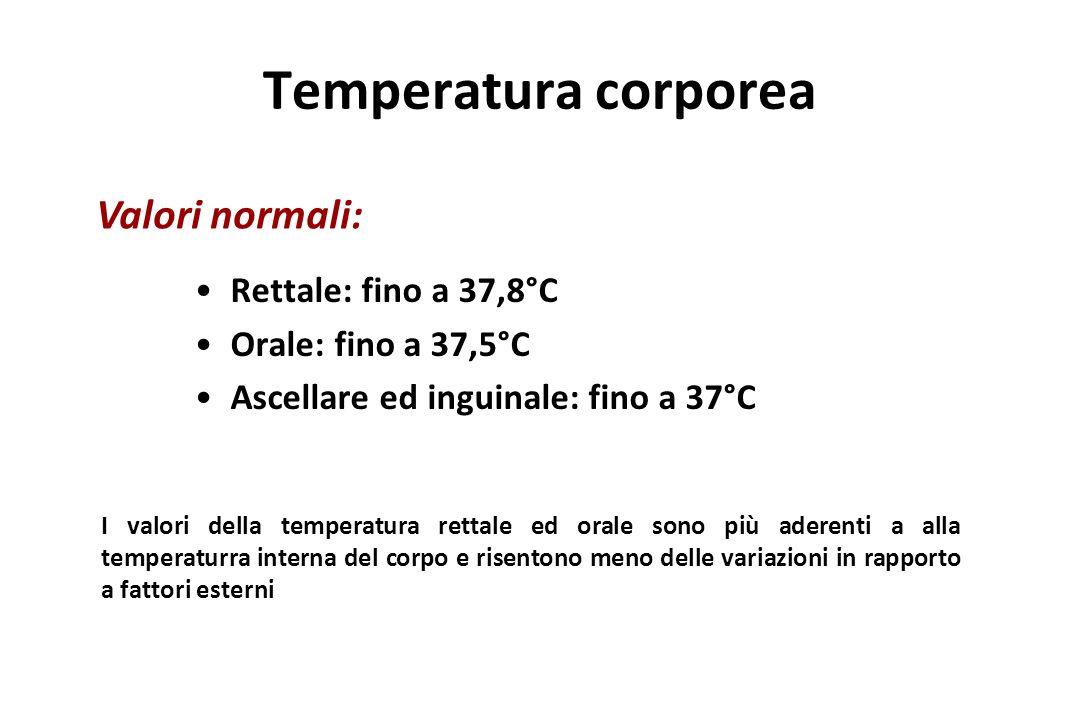 Temperatura corporea Valori normali: Rettale: fino a 37,8°C