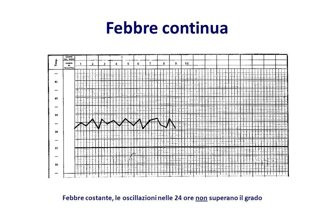 Febbre continua Febbre costante, le oscillazioni nelle 24 ore non superano il grado
