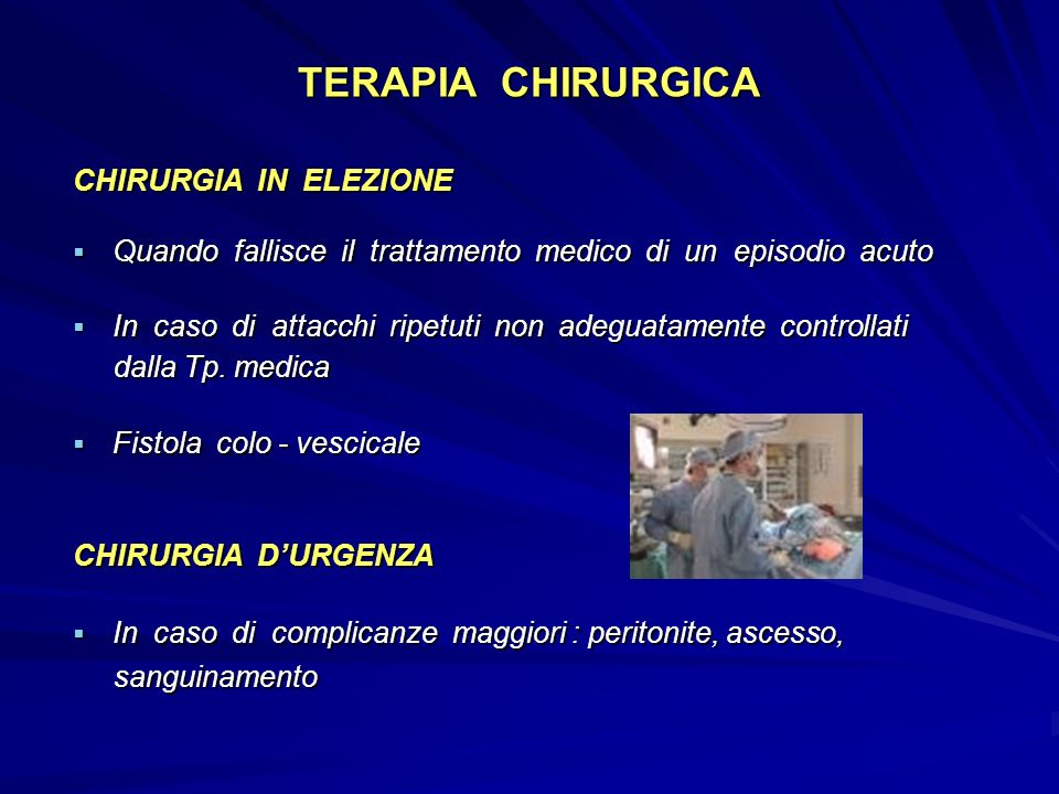 TERAPIA CHIRURGICA CHIRURGIA IN ELEZIONE