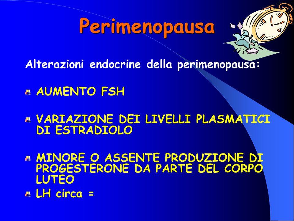 Perimenopausa Alterazioni endocrine della perimenopausa: AUMENTO FSH