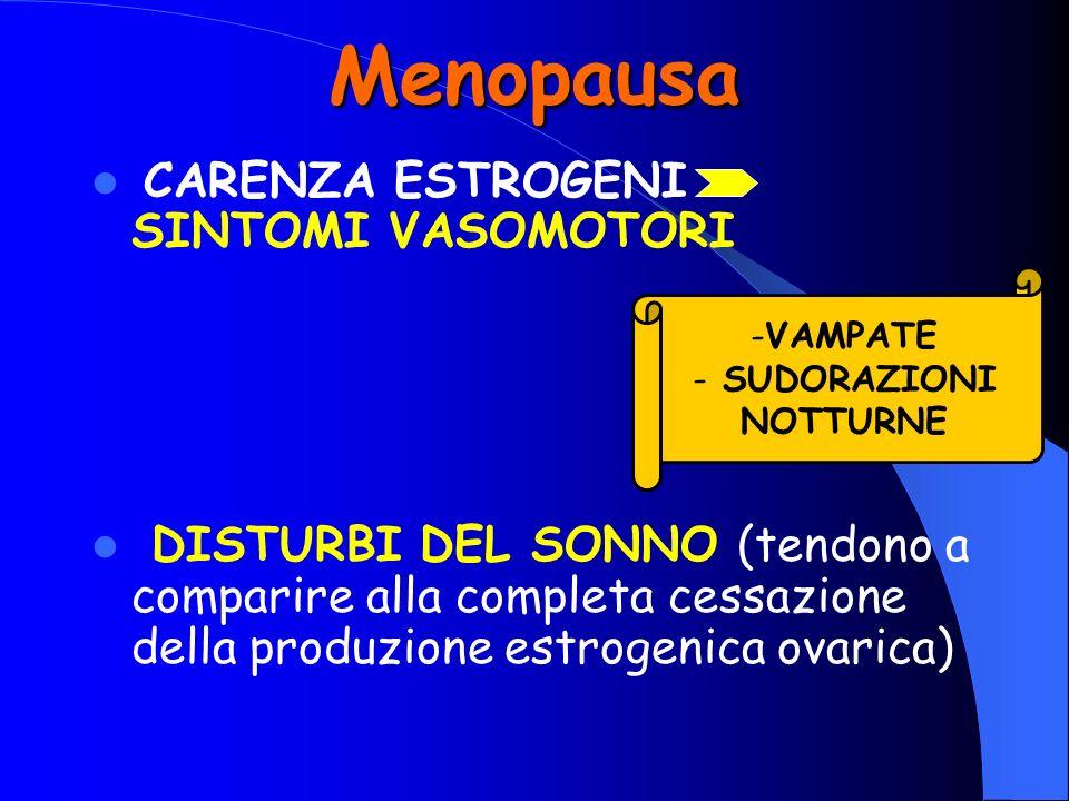 Menopausa CARENZA ESTROGENI SINTOMI VASOMOTORI