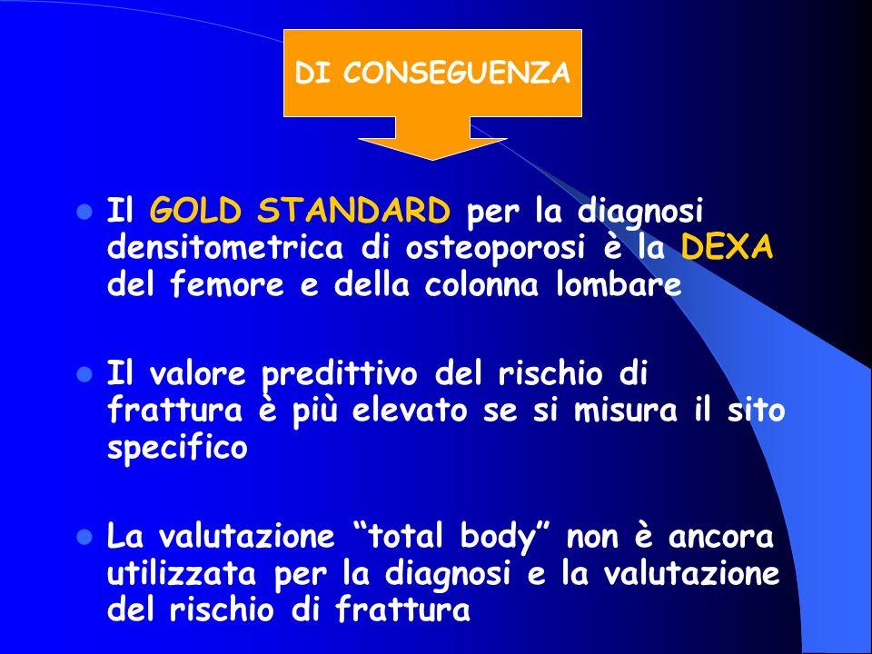 DI CONSEGUENZA Il GOLD STANDARD per la diagnosi densitometrica di osteoporosi è la DEXA del femore e della colonna lombare.