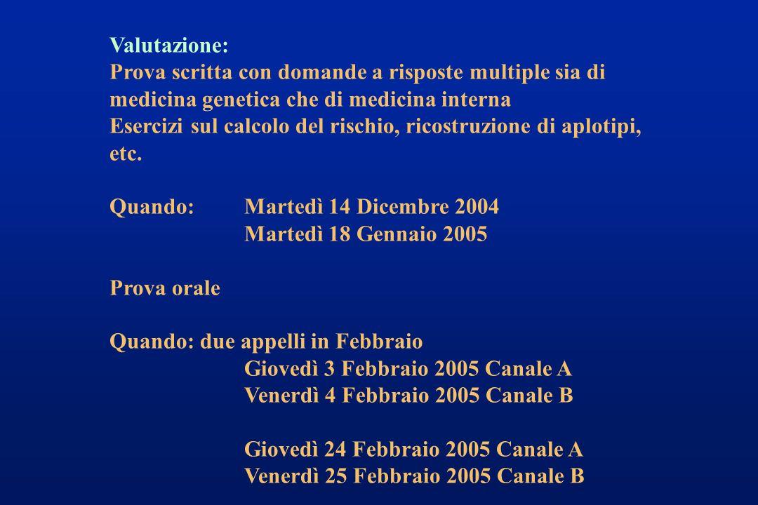Valutazione: Prova scritta con domande a risposte multiple sia di medicina genetica che di medicina interna.