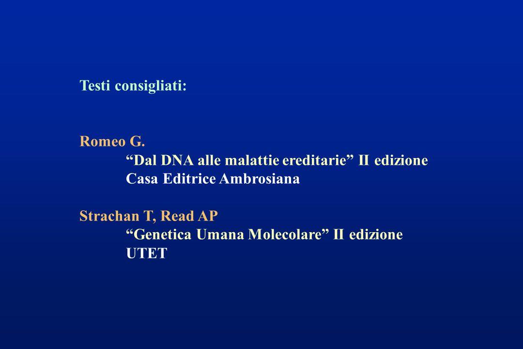 Testi consigliati: Romeo G. Dal DNA alle malattie ereditarie II edizione. Casa Editrice Ambrosiana.