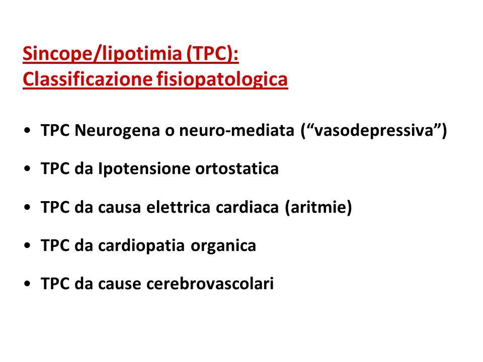 Sincope/lipotimia (TPC): Classificazione fisiopatologica