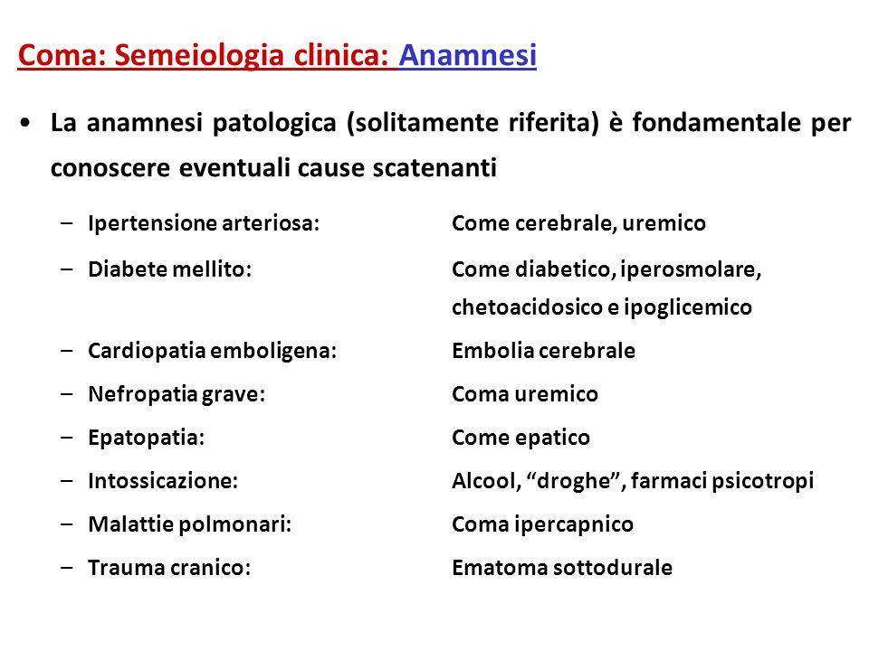 Coma: Semeiologia clinica: Anamnesi