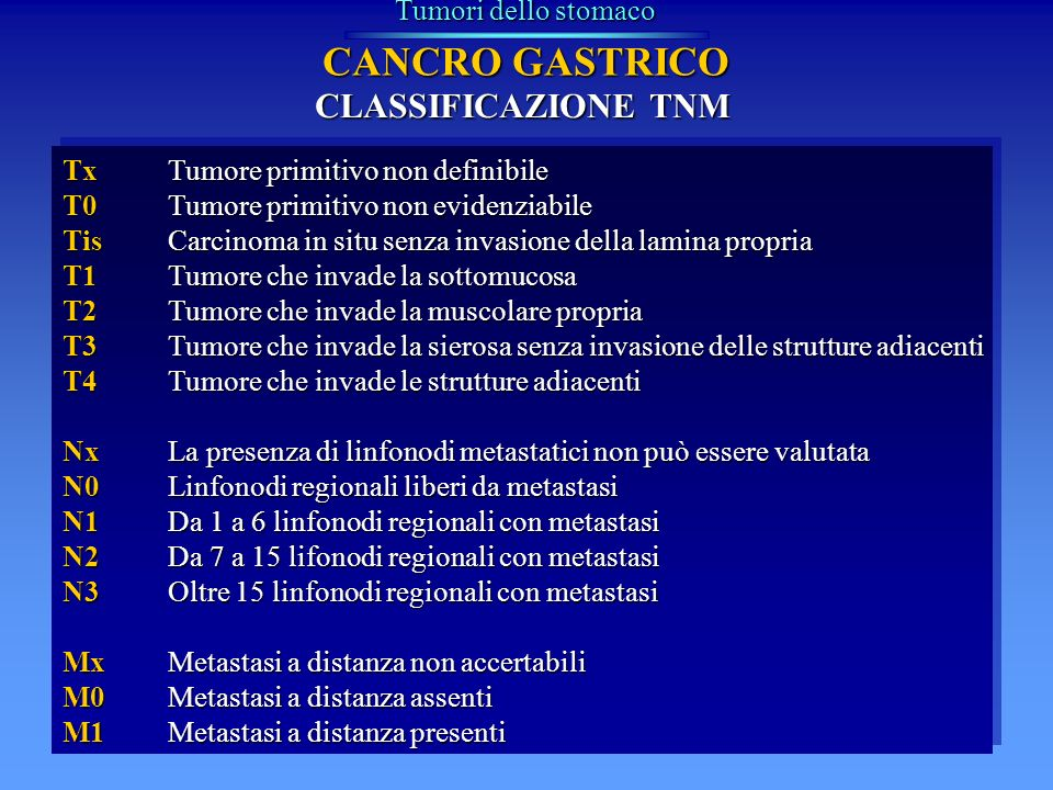 CANCRO GASTRICO CLASSIFICAZIONE TNM Tumori dello stomaco