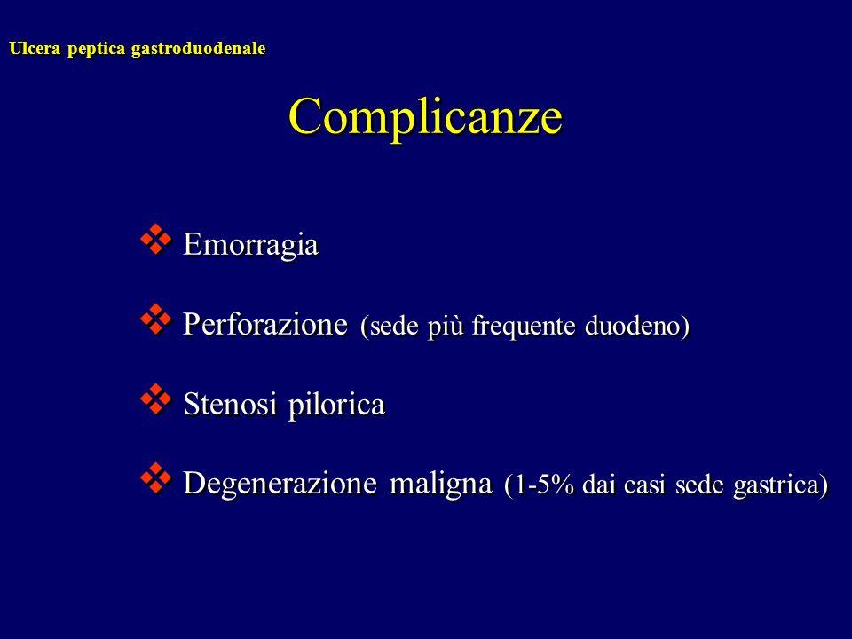 Complicanze Emorragia Perforazione (sede più frequente duodeno)