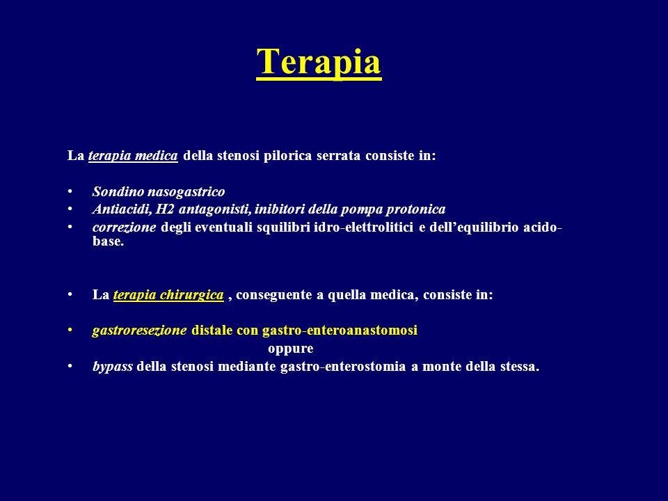 Terapia La terapia medica della stenosi pilorica serrata consiste in: