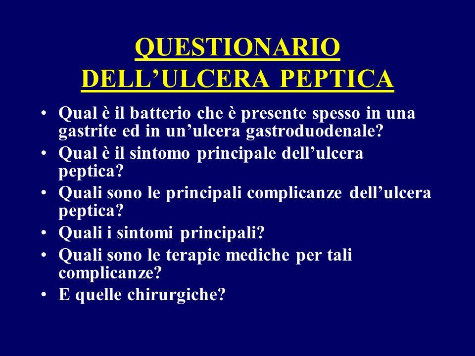 QUESTIONARIO DELL'ULCERA PEPTICA