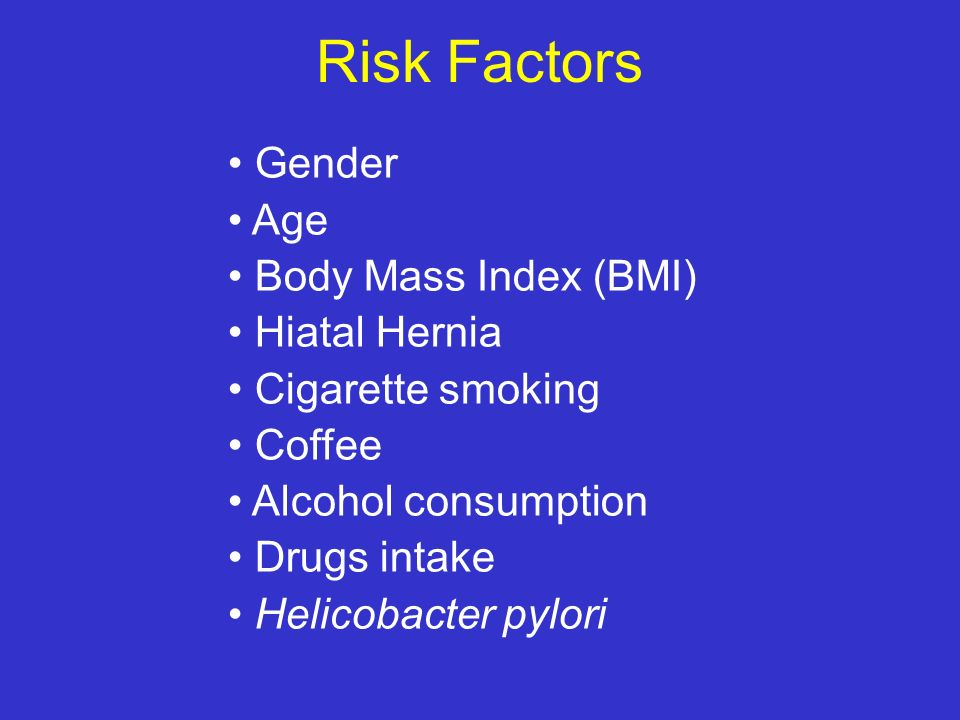 Risk Factors Gender Age Body Mass Index (BMI) Hiatal Hernia