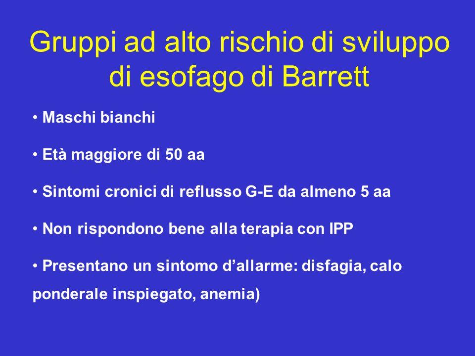 Gruppi ad alto rischio di sviluppo di esofago di Barrett