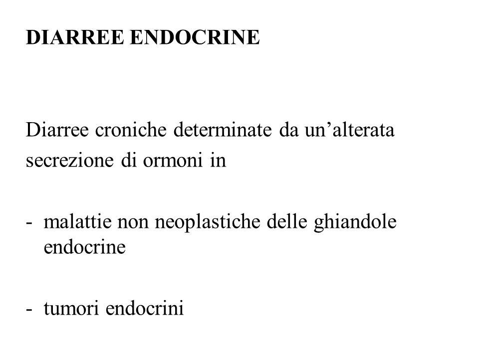 DIARREE ENDOCRINE Diarree croniche determinate da un'alterata. secrezione di ormoni in. malattie non neoplastiche delle ghiandole endocrine.
