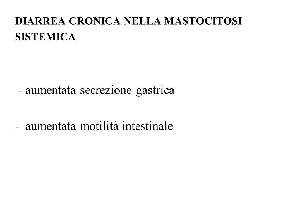 - aumentata secrezione gastrica - aumentata motilità intestinale