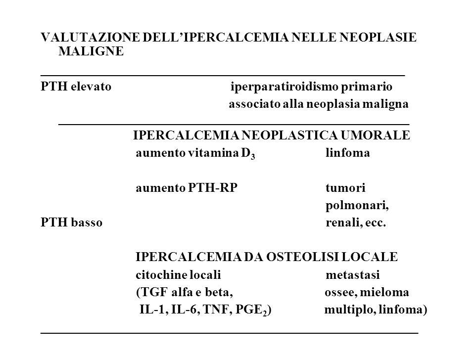 VALUTAZIONE DELL'IPERCALCEMIA NELLE NEOPLASIE MALIGNE