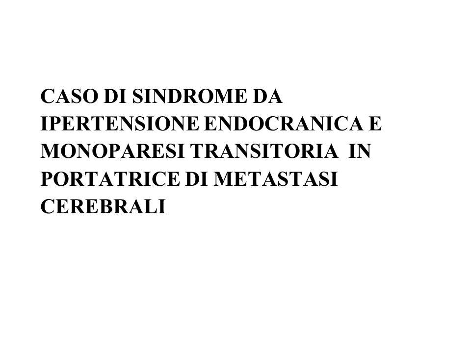 CASO DI SINDROME DA IPERTENSIONE ENDOCRANICA E. MONOPARESI TRANSITORIA IN. PORTATRICE DI METASTASI.