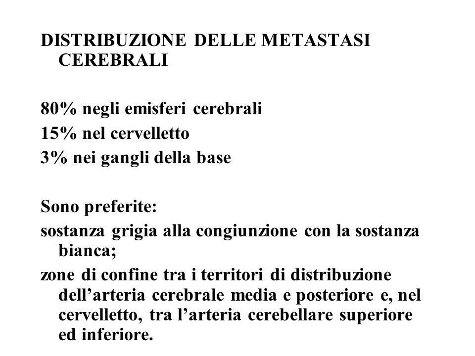 DISTRIBUZIONE DELLE METASTASI CEREBRALI