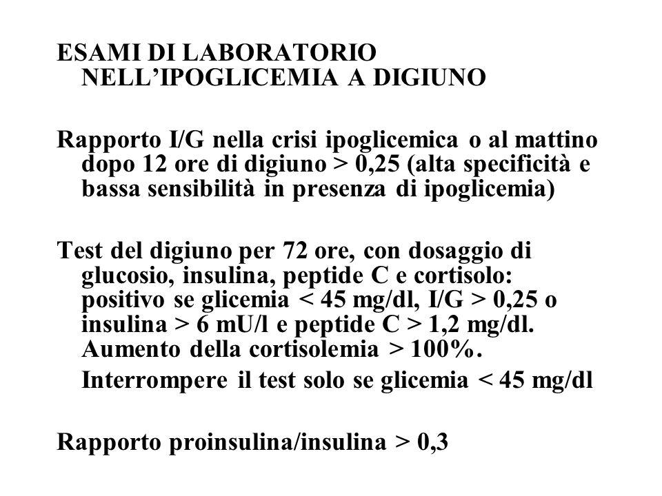 ESAMI DI LABORATORIO NELL'IPOGLICEMIA A DIGIUNO