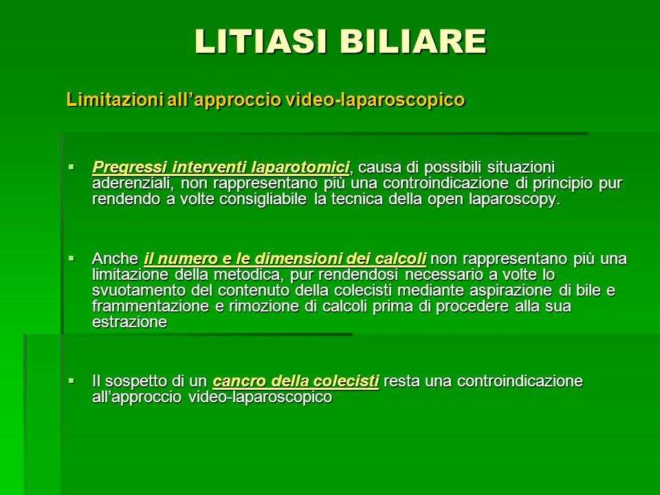 LITIASI BILIARE Limitazioni all'approccio video-laparoscopico