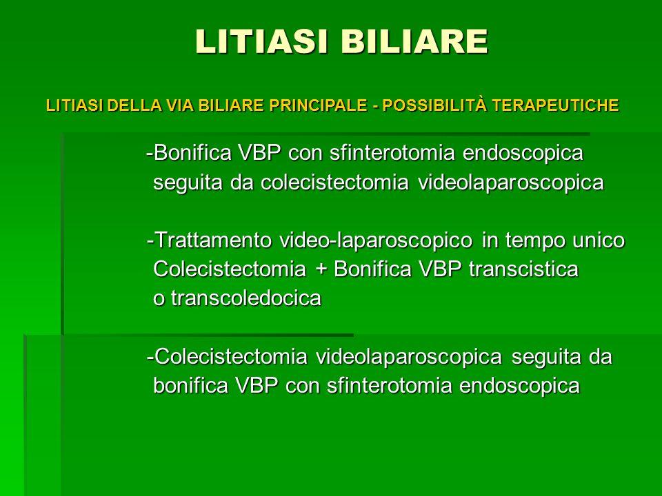 LITIASI BILIARE -Bonifica VBP con sfinterotomia endoscopica