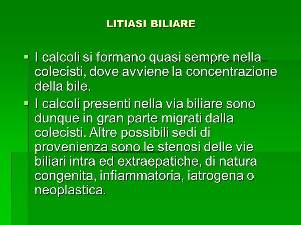 LITIASI BILIARE I calcoli si formano quasi sempre nella colecisti, dove avviene la concentrazione della bile.