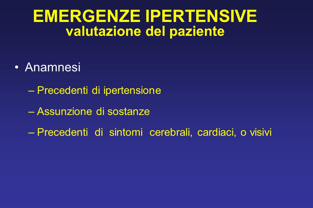 EMERGENZE IPERTENSIVE valutazione del paziente