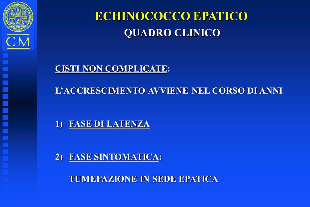 ECHINOCOCCO EPATICO QUADRO CLINICO CISTI NON COMPLICATE: