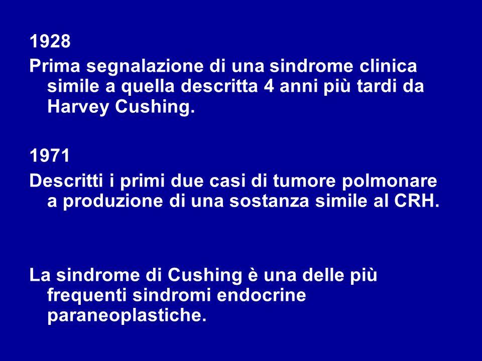 1928Prima segnalazione di una sindrome clinica simile a quella descritta 4 anni più tardi da Harvey Cushing.