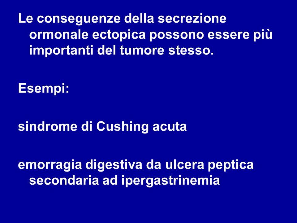 Le conseguenze della secrezione ormonale ectopica possono essere più importanti del tumore stesso.