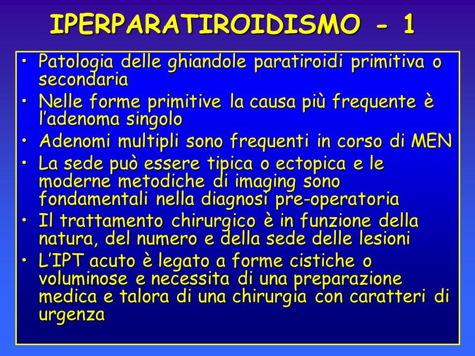 IPERPARATIROIDISMO - 1 Patologia delle ghiandole paratiroidi primitiva o secondaria.