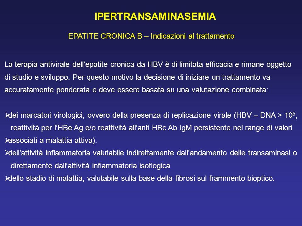 IPERTRANSAMINASEMIA EPATITE CRONICA B – Indicazioni al trattamento