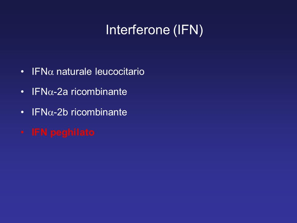 Interferone (IFN) IFN naturale leucocitario IFN-2a ricombinante