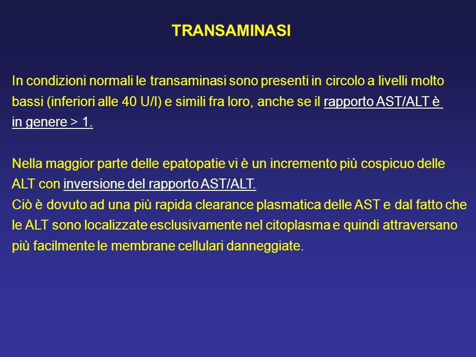 TRANSAMINASI In condizioni normali le transaminasi sono presenti in circolo a livelli molto.