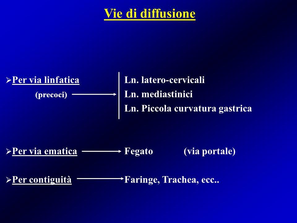 Vie di diffusione Per via linfatica Ln. latero-cervicali