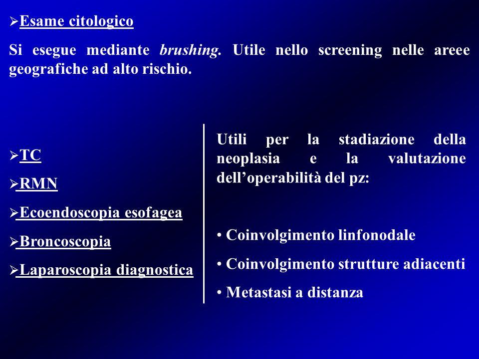 Esame citologico Si esegue mediante brushing. Utile nello screening nelle areee geografiche ad alto rischio.