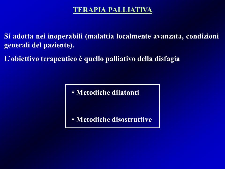 TERAPIA PALLIATIVA Si adotta nei inoperabili (malattia localmente avanzata, condizioni generali del paziente).