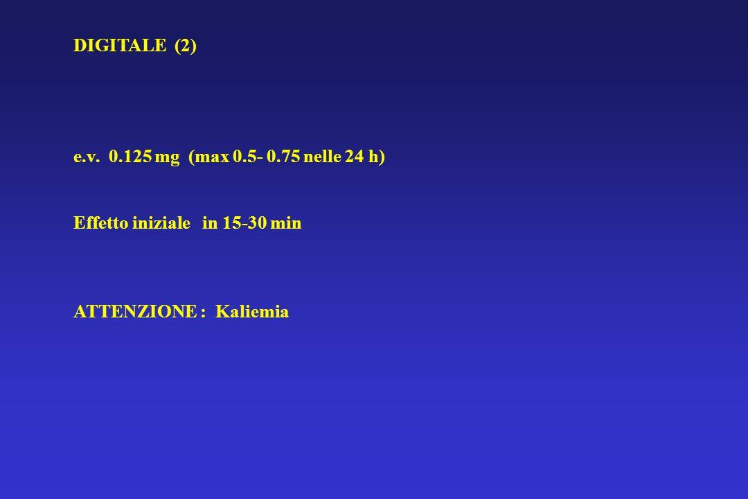 DIGITALE (2) e.v. 0.125 mg (max 0.5- 0.75 nelle 24 h) Effetto iniziale in 15-30 min.