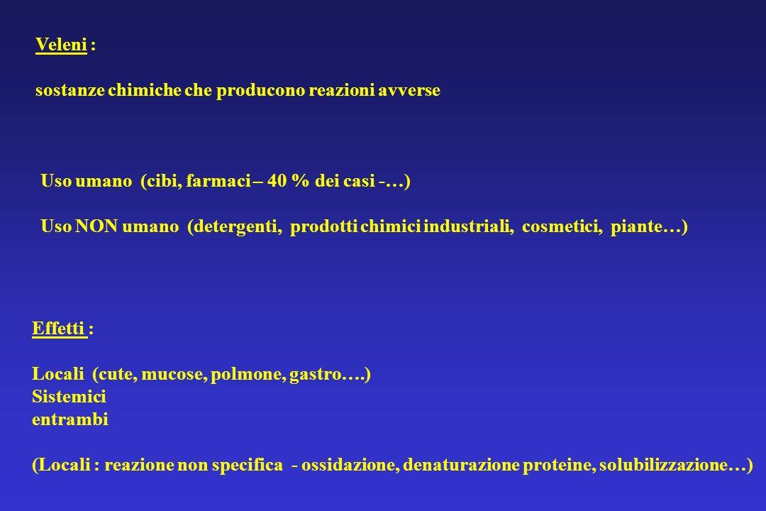 Veleni : sostanze chimiche che producono reazioni avverse. Uso umano (cibi, farmaci – 40 % dei casi -…)