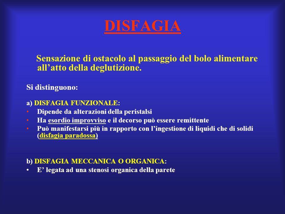 DISFAGIA Si distinguono: a) DISFAGIA FUNZIONALE: