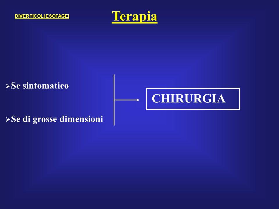 Terapia CHIRURGIA Se sintomatico Se di grosse dimensioni