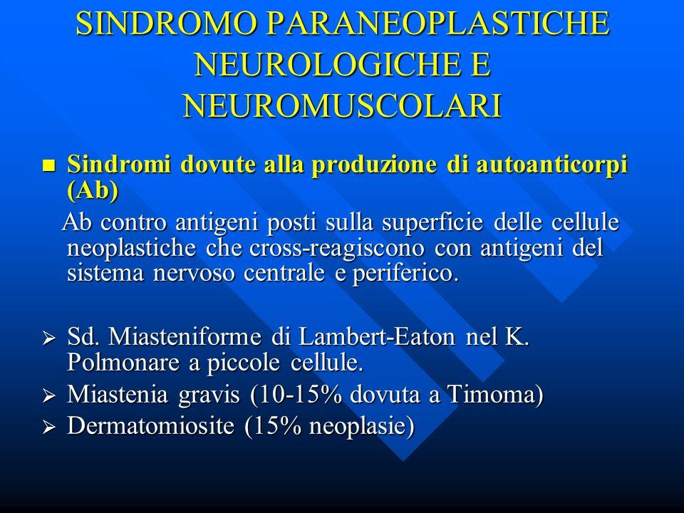 SINDROMO PARANEOPLASTICHE NEUROLOGICHE E NEUROMUSCOLARI