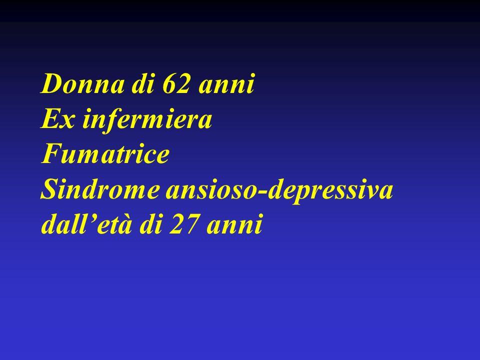 Donna di 62 anni Ex infermiera Fumatrice Sindrome ansioso-depressiva dall'età di 27 anni