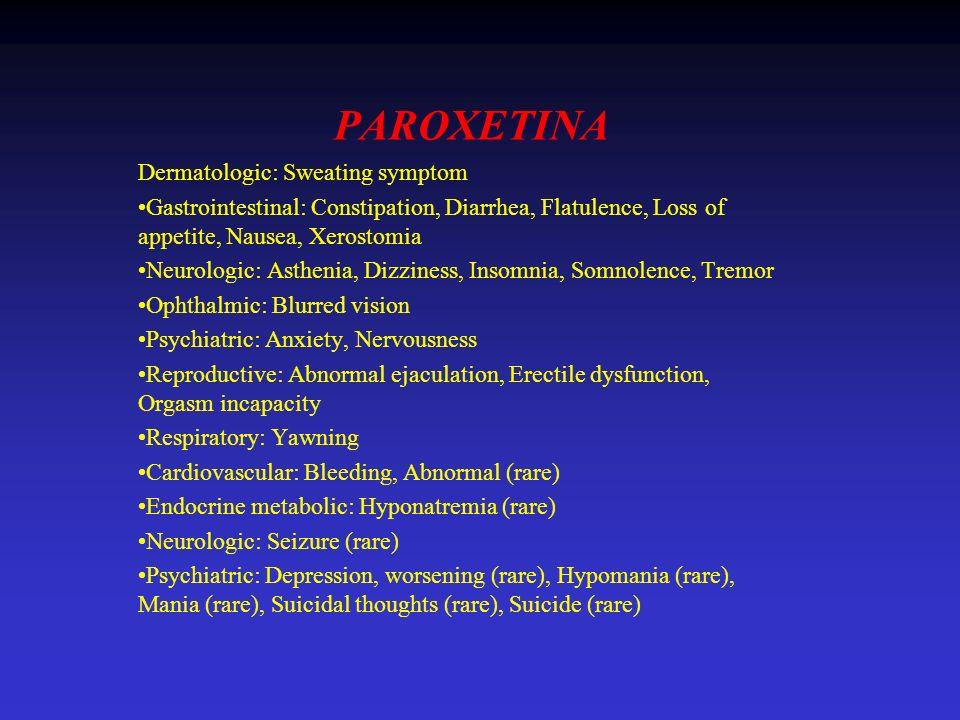 PAROXETINA Dermatologic: Sweating symptom