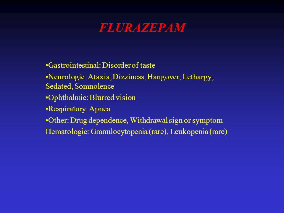 FLURAZEPAM Gastrointestinal: Disorder of taste