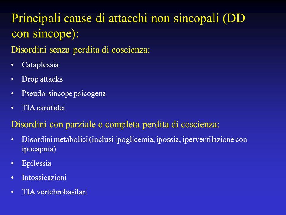 Principali cause di attacchi non sincopali (DD con sincope):
